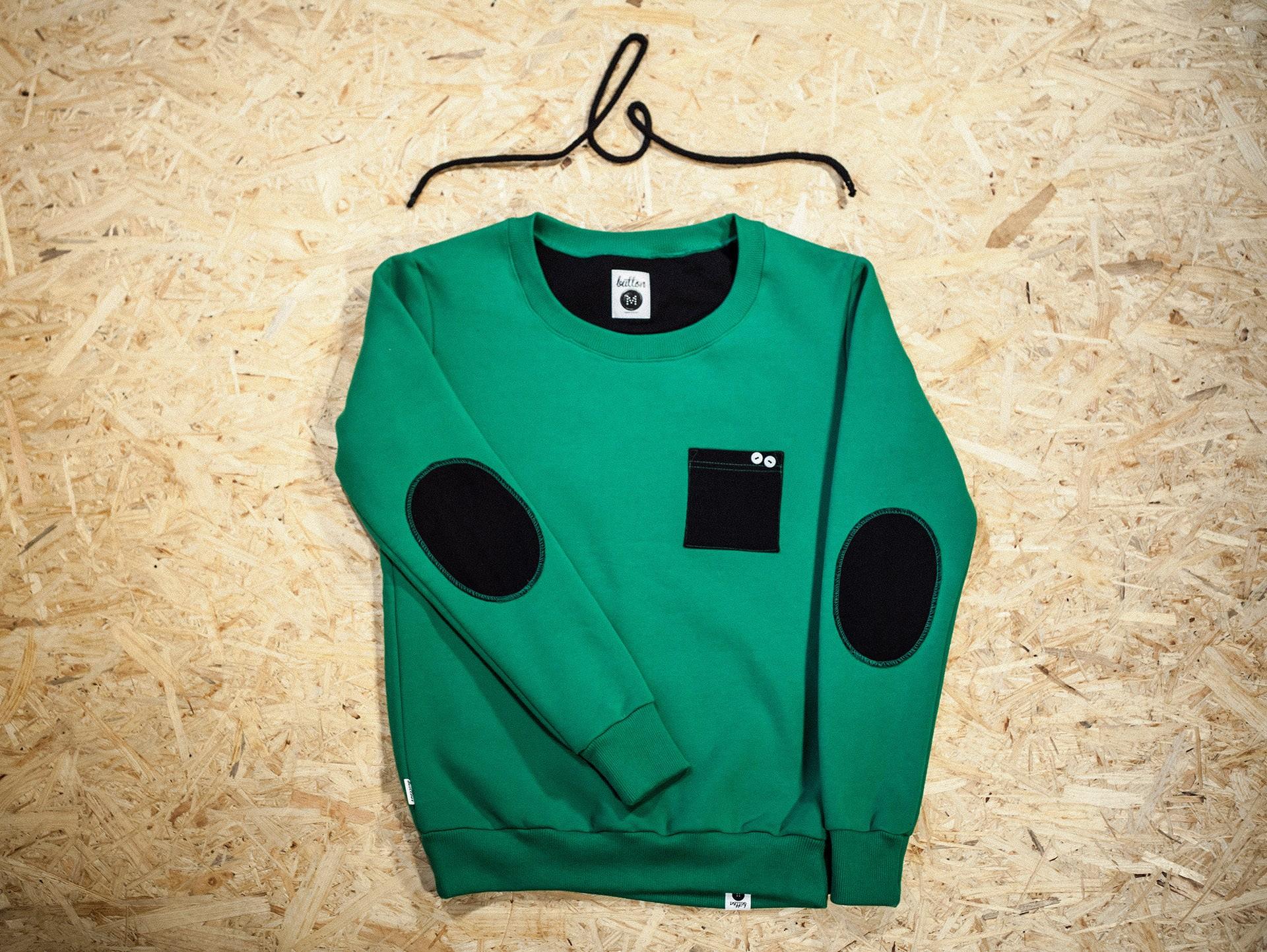 Blouse Green Black Button